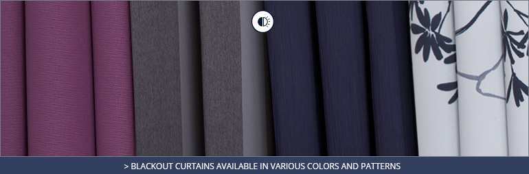 Blackout curtains available in various colors and patterns